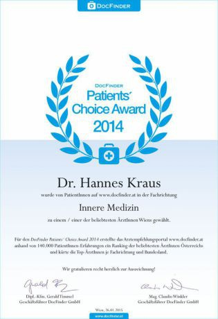 Patients' Choice Award 2014 - Dr. univ. med. Hannes Kraus