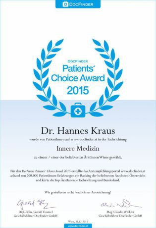 Patients' Choice Award 2015 - Dr. univ. med. Hannes Kraus